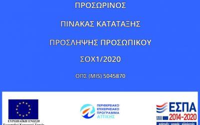 Προσωρινός Πίνακας Κατάταξης ΣΟΧ1/2020